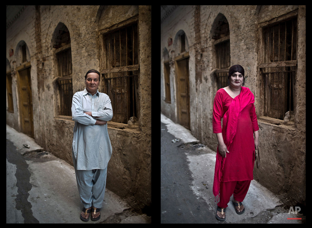 This combination of two images taken between Thursday, Jan. 8, 2015 and Friday, Jan. 9, 2015, shows Pakistani Bakhtawar Ijaz, 43, posing for a picture in an alley of a neighborhood in Rawalpindi, Pakistan. ìI am a very shy man. Eyes always follow me when I walk out of the apartment that I share with a few friends who share the same job like mine (as) dancers,î says Ijaz. ìBeing with them is like being with a family. When I am surrounded by them, I feel safe, respected and empowered.î (AP Photo/Muhammed Muheisen)