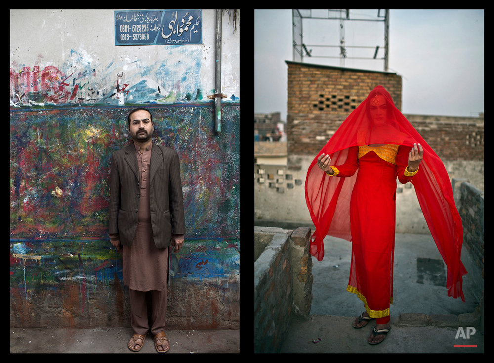 This combination of two images taken between Friday, Jan. 9, 2015 and Saturday, Jan. 10, 2015, shows Pakistani Waseem Akram, 27, posing for a picture in Rawalpindi, Pakistan. By day, Akram sells mobile phone accessories from an alleyway shop in an old neighborhood of this Pakistani city. But by night, Akram stands before a mirror, shaving away his beard and picking through mascara and rouge to become Rani, a female wedding party dancer. (AP Photo/Muhammed Muheisen)