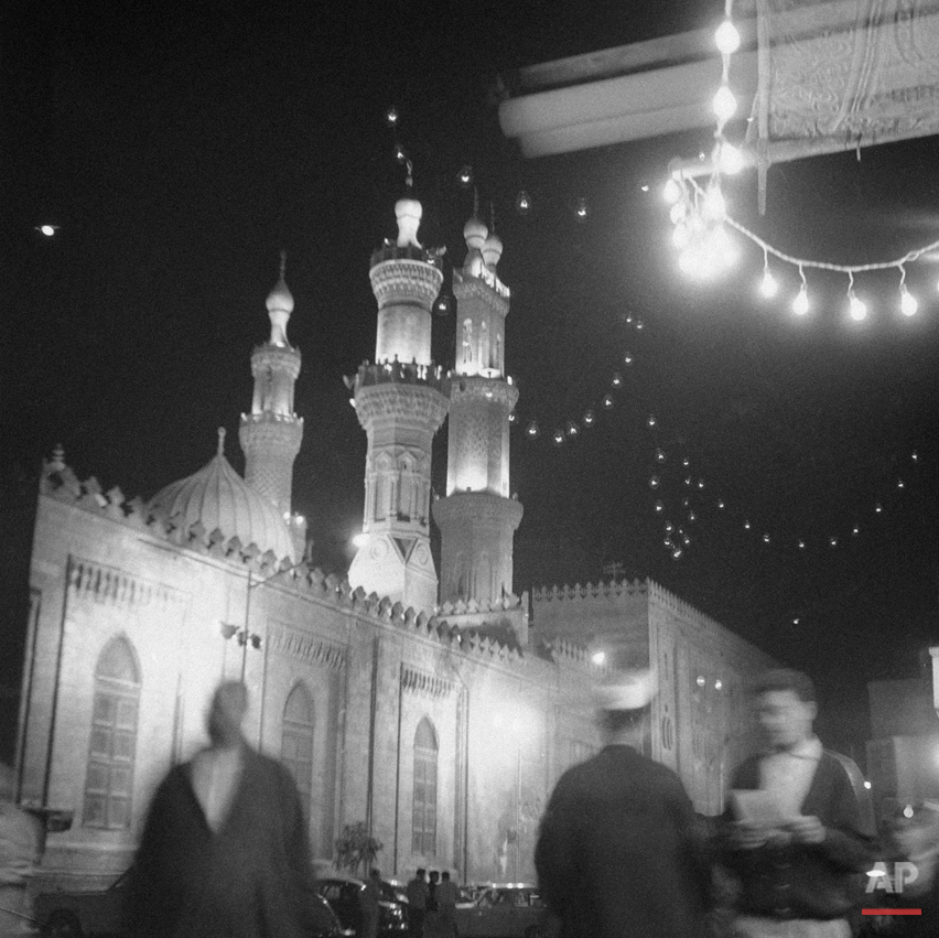 The ten-centuries-old mosque of Al-Azhar gleaming lights during Ramadan nights in Cairo, Egypt on March 1, 1963. The dome and minaret mosque and at least five thousand other illuminated during Ramadan nights. (AP Photo/Mahmoud)