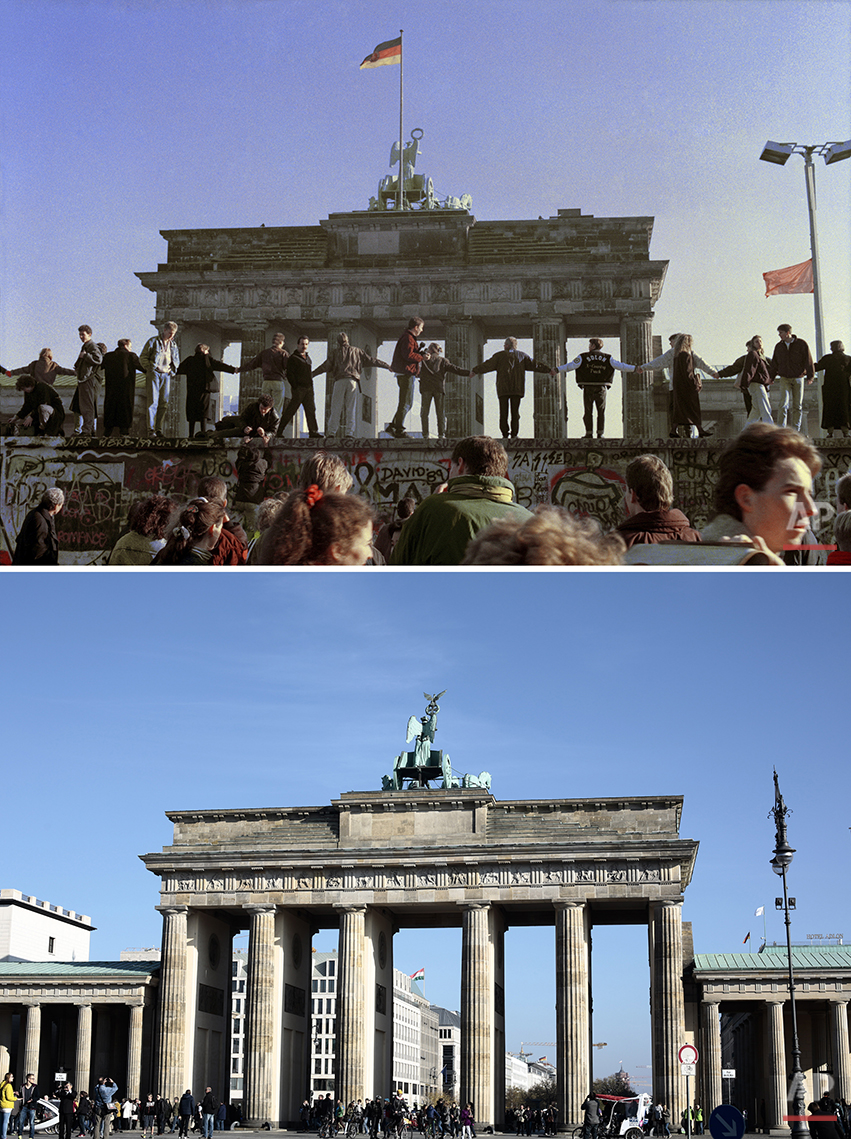 The combo shows the Brandenburg Gate landmark in Berlin with people dancing on the Berlin Wall on Nov. 10, 1989 and 25 years after in October 2014. (AP Photo/Thomas Kienzle, Markus Schreiber)