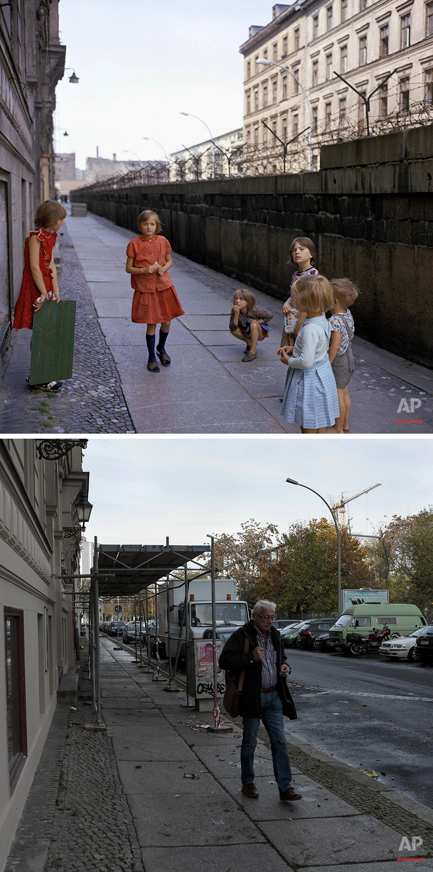 The combo shows children playing at the Berlin Wall at Sebastianstrasse near Heinrich-Heine-Strasse in 1968 and a man walking over the once divided Sebastianstrasse on Nov. 3, 2014 - 25 years after the fall of the wall.  (AP Photo/Markus Schreiber)
