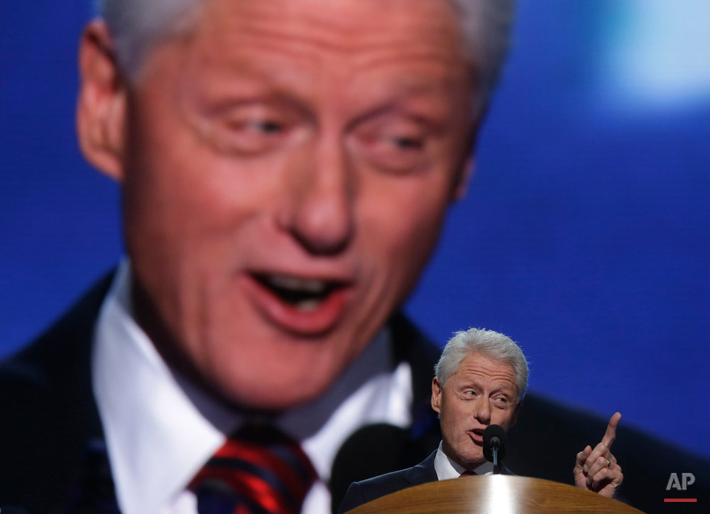 Former President Bill Clinton addresses the Democratic National Convention in Charlotte, N.C., on Wednesday, Sept. 5, 2012. (AP Photo/Charles Dharapak)