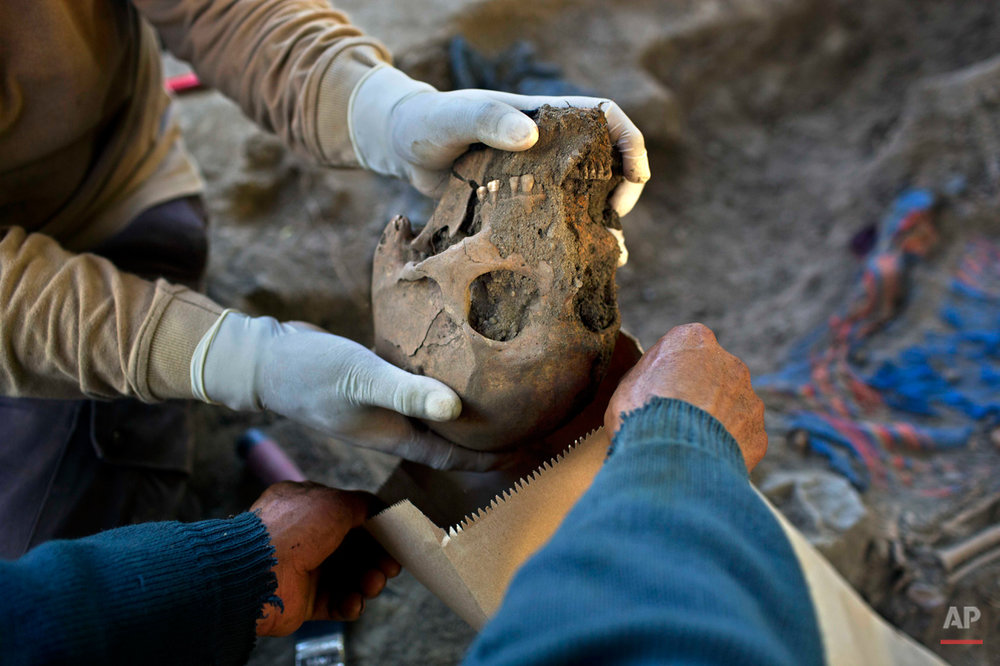 In this Sept. 7, 2014 photo, a forensic anthropologist places an unearthed skull in a bag during the exhumation of mass graves of villagers slain by security forces, in the Paccha village of Peru. In all, 21 sets of human remains were recovered, including those of eight children and a fetus, said Luis Rueda, the forensic archaeologist overseeing the dig. (AP Photo/Rodrigo Abd)