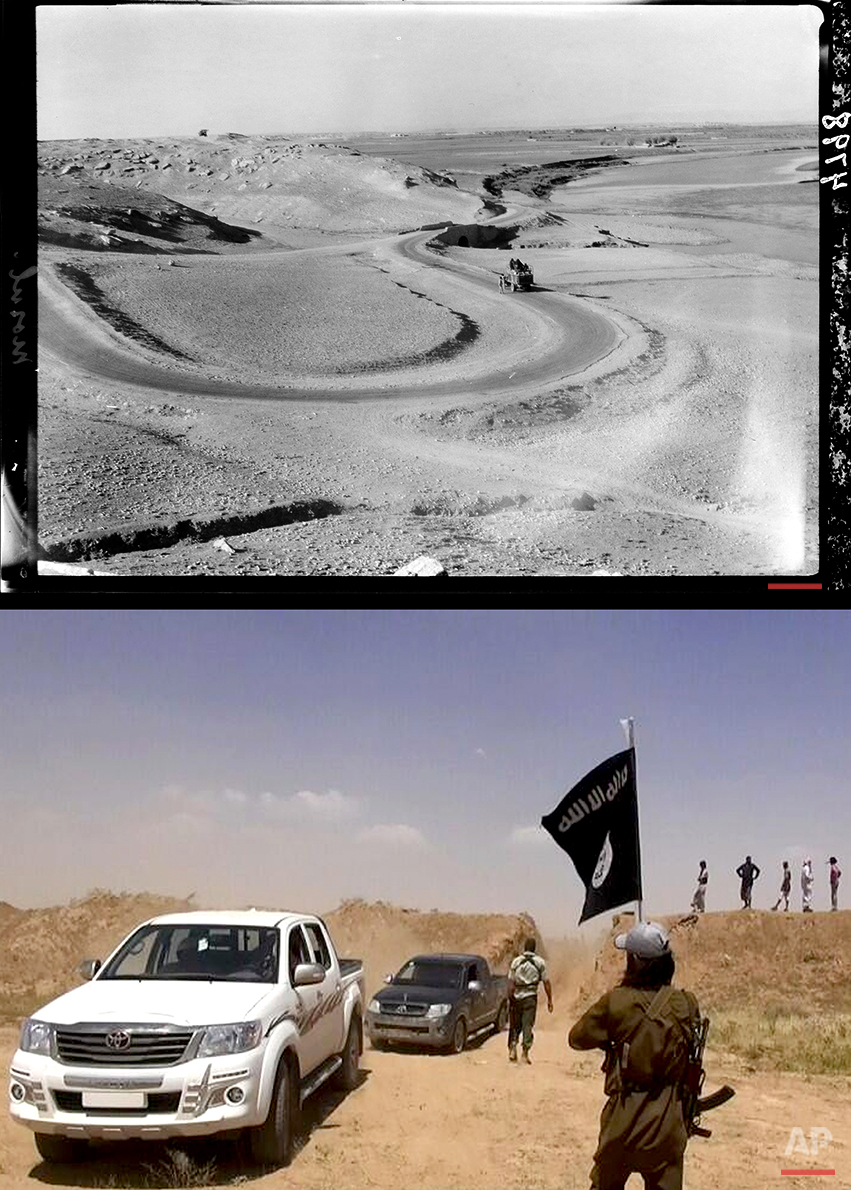 This combination of two photographs shows a 1932 image of a lorry on the road south of Mosul, Iraq, from the Library of Congress, top, and an image posted on a militant news Twitter account on Thursday, June 12, 2014 showing militants from the Islamic State group removing part of the soil barrier on the Iraq-Syria borders and moving through it. (AP Photo)