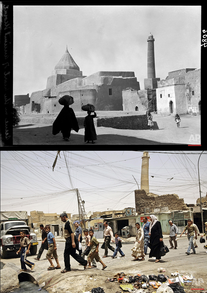 This combination of two photographs shows a 1932 image of the Crooked Minaret mosque next to a Yazidi shrine in Mosul, northern Iraq, from the Library of Congress, top, and the same site, without the shrine, on June 8, 2009. In July, Islamic State militants failed to destroy the 840-year old Crooked Minaret that leans like Italy's Tower of Pisa when residents sat on the ground and linked arms to form a human chain. (AP Photo)