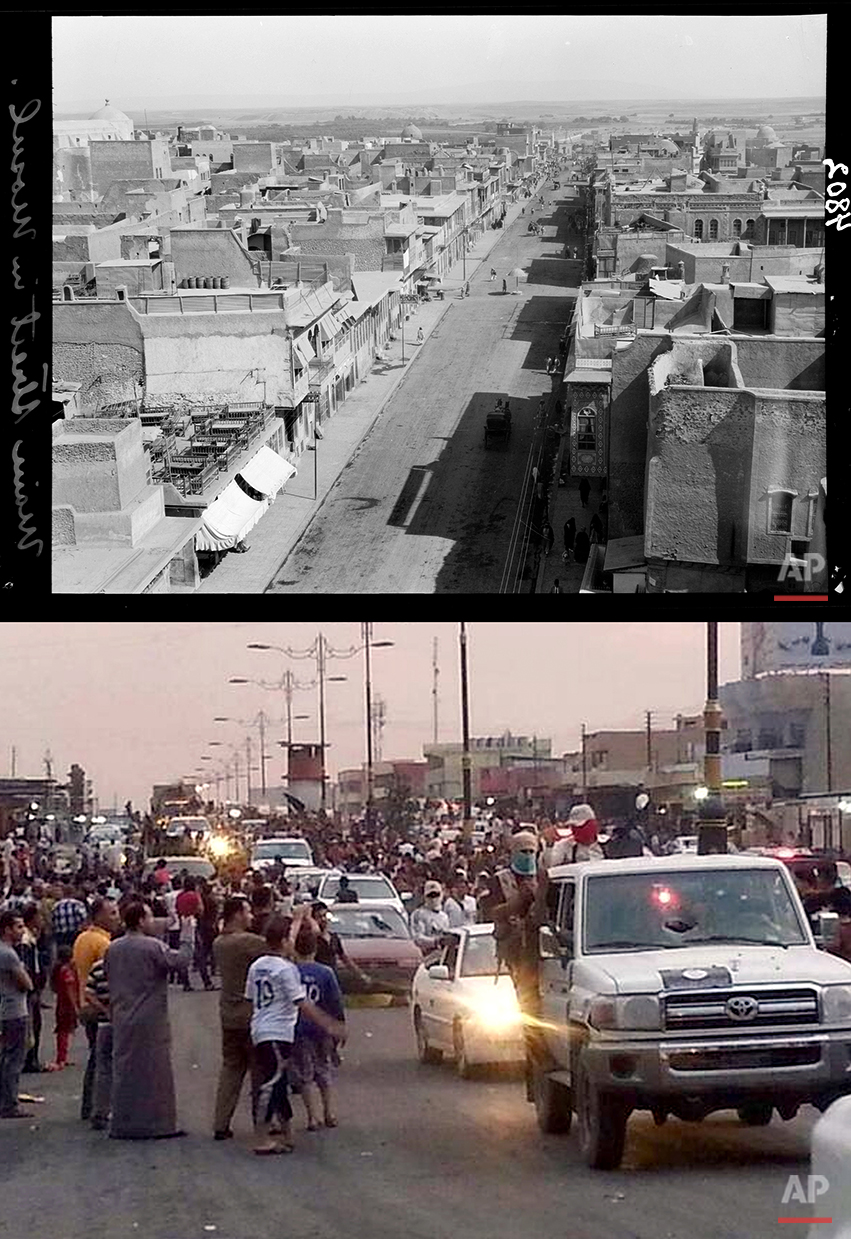 This combination of two photographs shows a 1932 image of a main street in Mosul, northern Iraq, from the Library of Congress, top, and militants parading down a main road in Mosul, posted on a militant Twitter account on Wednesday, June 11, 2014, which has been authenticated based on its contents and other AP reporting. (AP Photo)