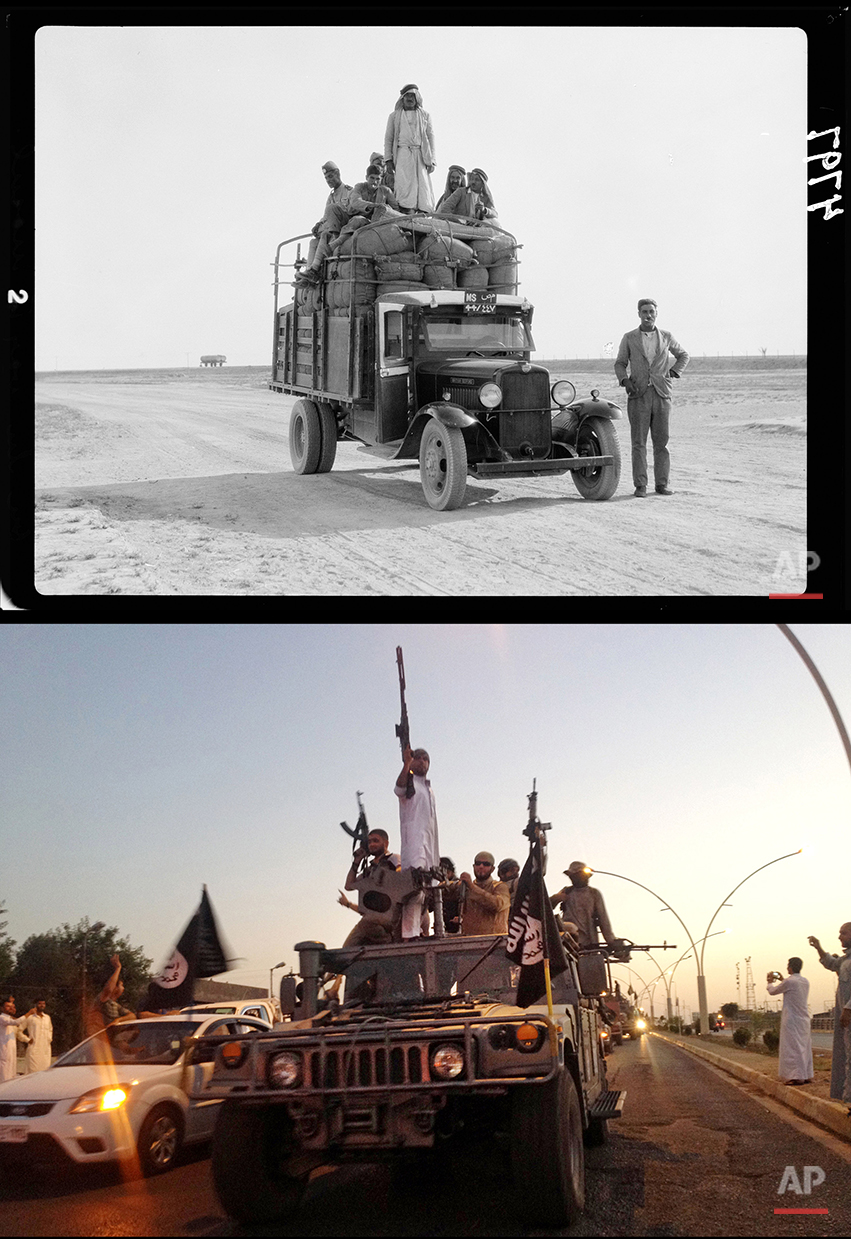 This combination of two photographs shows a 1932 image of men on a lorry on the road to Mosul, northern Iraq, from the Library of Congress, top, and fighters from the Islamic State group parading in a commandeered Iraqi security forces armored vehicle down a main road in Mosul on Monday, June 23, 2014. (AP Photo)