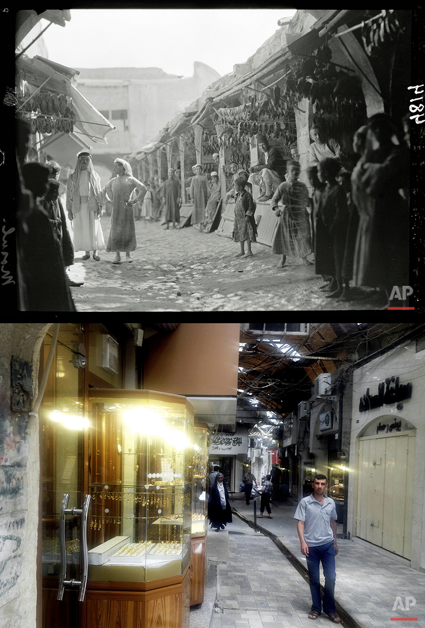 This combination of two photographs shows a 1932 image of Iraqi vendors and customers in the shoe market in Mosul, northern Iraq from the Library of Congress, top, and a Monday, July 7, 2014 file photo of a man walking in a market, nearly a month after Islamic militants took over the country's second largest city. (AP Photo)