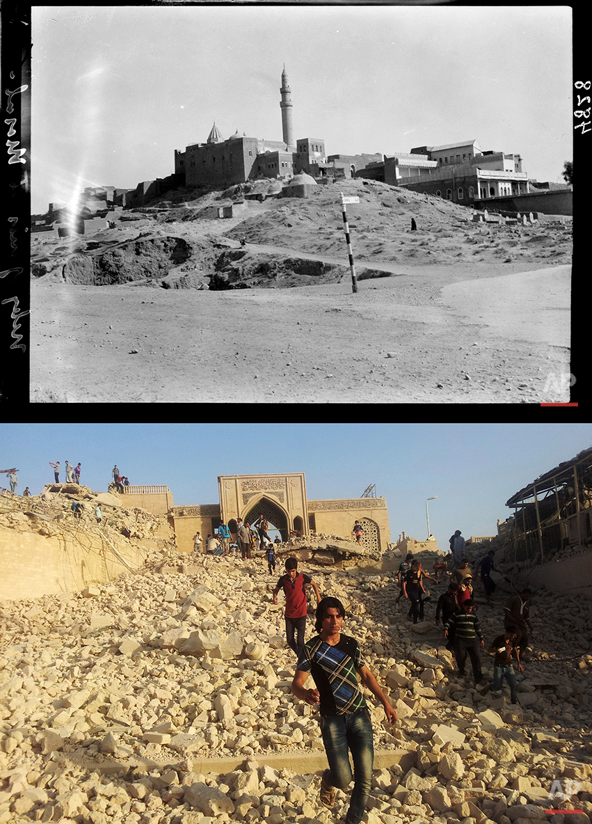 This combination of two photographs shows a 1932 image taken during the autumn of Nebi Yunis, the tomb of the prophet Jonah, in Mosul, northern Iraq, from the Library of Congress, top, and Iraqis walking in the rubble of the revered Muslim shrine after it was was destroyed on Thursday, July 24, 2014 by militants who overran the city in June and imposed their harsh interpretation of Islamic law. (AP Photo)