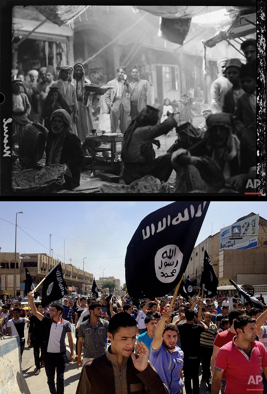 This combination of two photographs shows a 1932 image of Iraqis in the market in Mosul, northern Iraq, from the Library of Congress, top, and demonstrators chanting pro-Islamic State group slogans as they carry the group's flags in front of the provincial government headquarters in Mosul on Monday, June 16, 2014. (AP Photo)