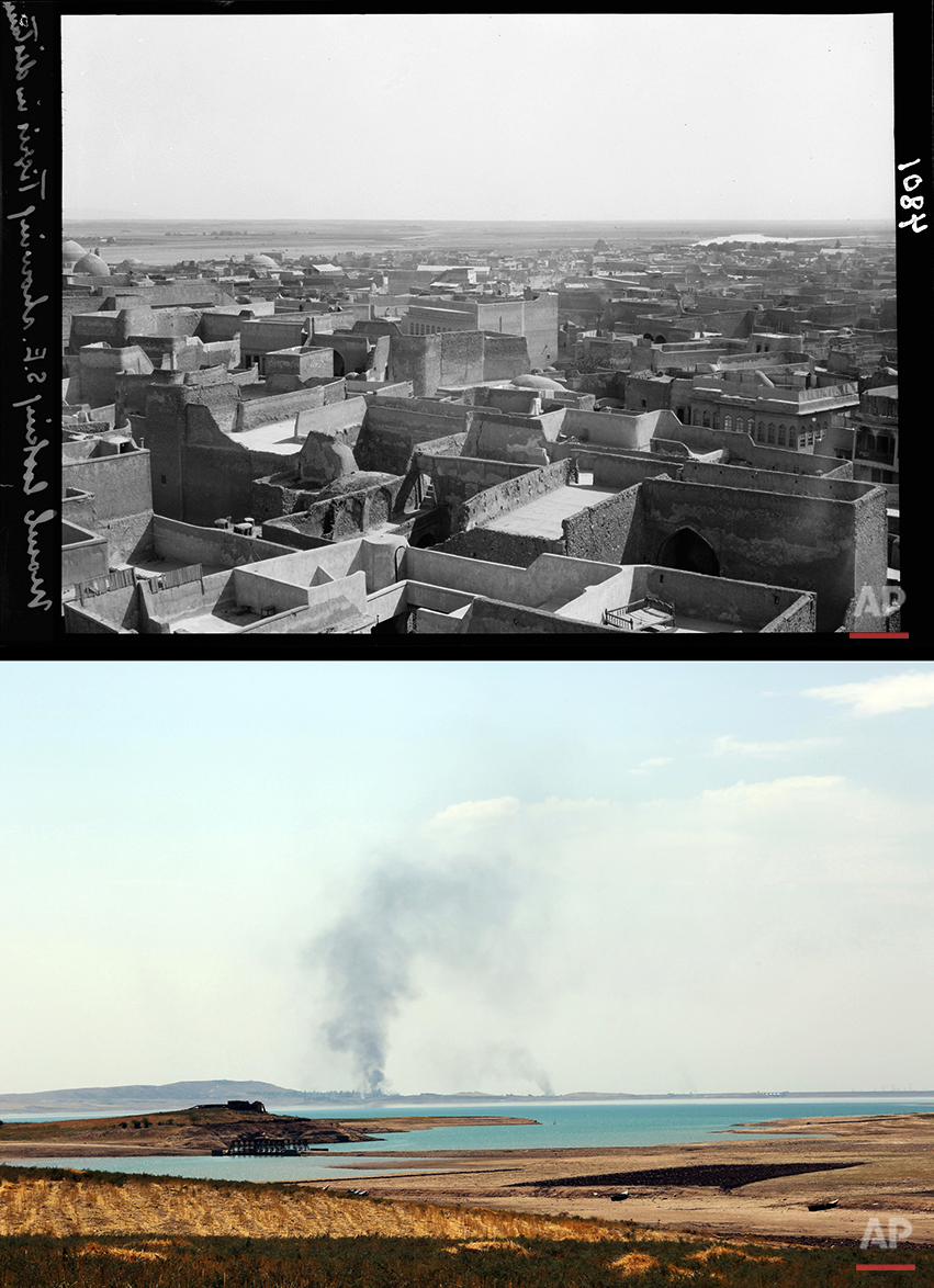This combination of two photographs shows a 1932 image of the Tigris River stretching out in the distance as seen from Mosul, northern Iraq from the Library of Congress, top, and a file photo of smoke rising during airstrikes targeting Islamic State militants at the Mosul Dam on Monday, Aug. 18, 2014. (AP Photo)