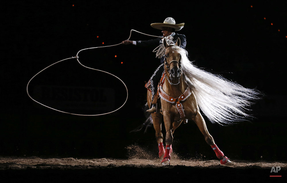 A rodeo performer performs rope tricks at the end of the 10th go-round of the National Finals Rodeo, Saturday, Dec. 15, 2012, in Las Vegas. (AP Photo/Julie Jacobson)