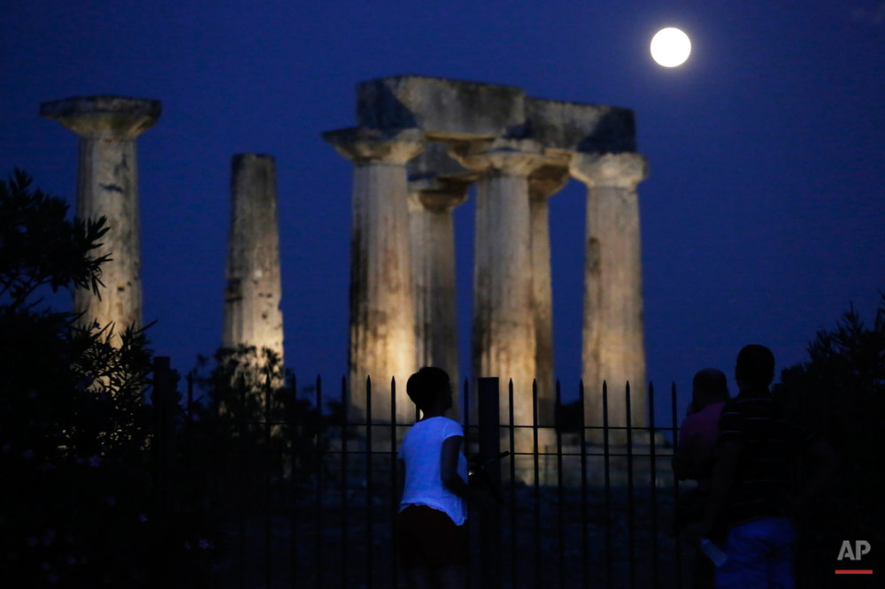APTOPIX Greece Supermoon
