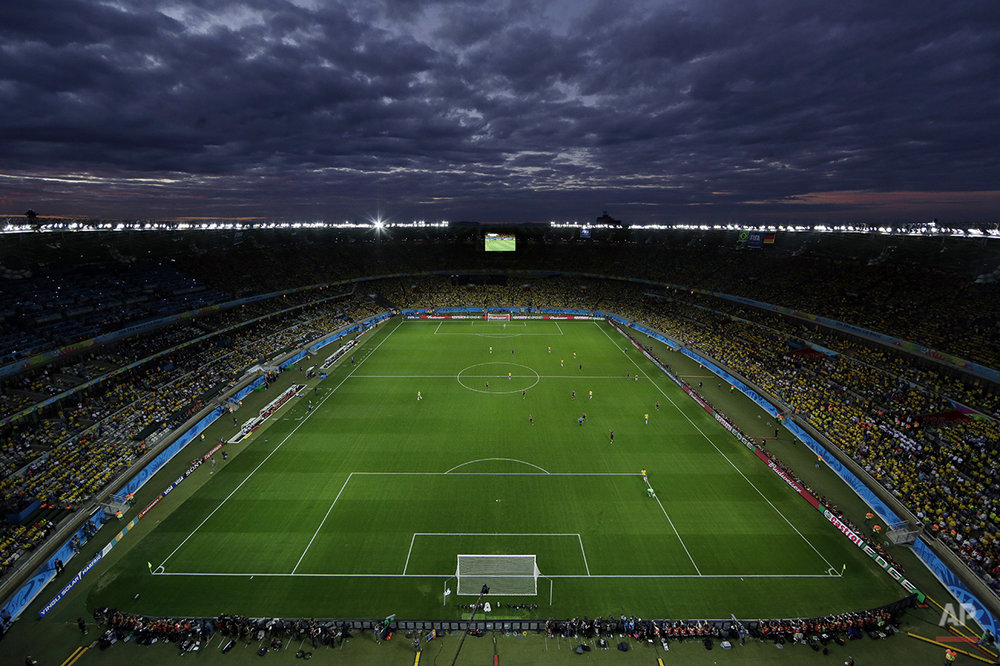 A view of the pitch during the World Cup semifinal soccer match between Brazil and Germany at the Mineirao Stadium in Belo Horizonte, Brazil, Tuesday, July 8, 2014. (AP Photo/Felipe Dana)