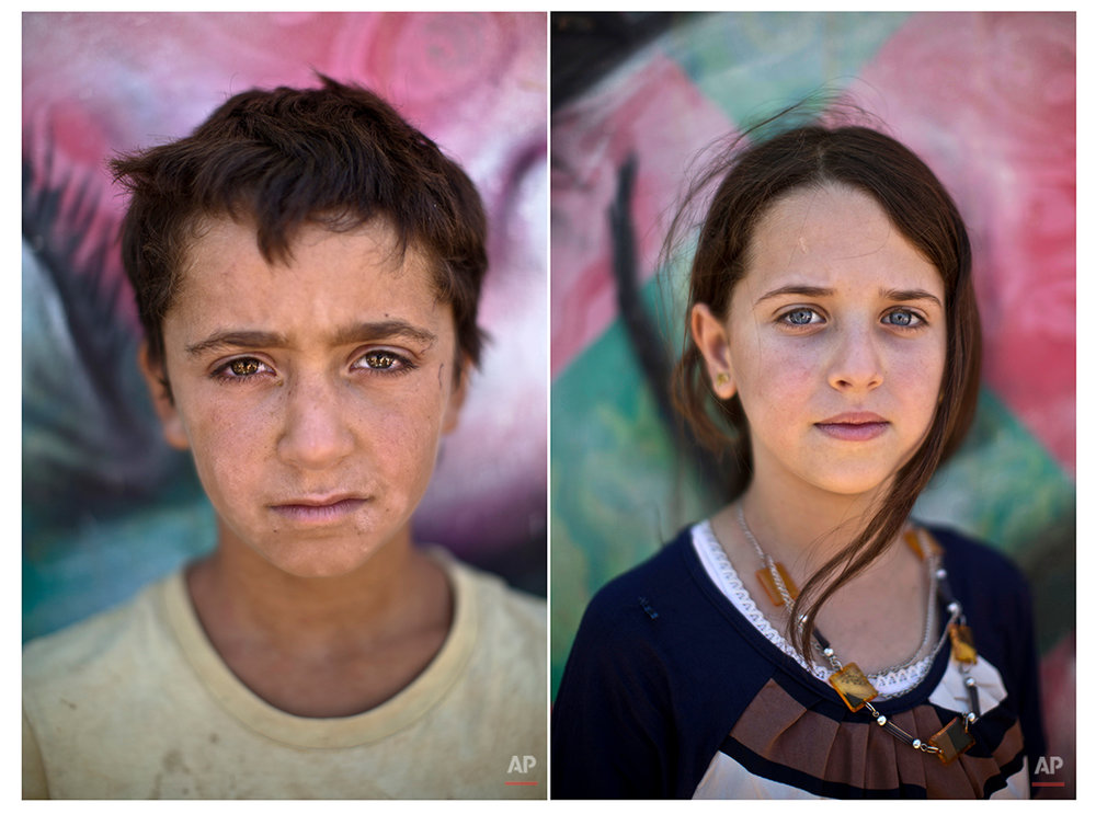 In this Tuesday, July 29, 2014 combo photo, Fouad, 14, and Amal Qalloosh, 11, pose for a picture at Zaatari refugee camp, near the Syrian border, in Mafraq, Jordan.More than 2.8 million Syrian children inside and outside the country _ nearly half the school-aged population _ cannot get an education because of the devastation from the civil war, according to the U.N. children's agency, UNICEF. That number is likely higher, as UNICEF can't count the children whose parents didn't register with the United Nations refugee agency. (AP Photo/Muhammed Muheisen)