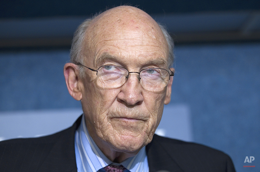 In this Sept. 12, 2011 file photo, Alan Simpson, speaks in Washington, D.C. A group of Republicans have come out in support of legalizing gay marriage in Utah and Oklahoma, arguing that allowing same-sex unions is consistent with the Western conservative values of freedom and liberty once championed by Ronald Reagan and Barry Goldwater. The group that includes former Sen. Alan Simpson of Wyoming and former Sen. Nancy Kassebaum of Kansas plans to file a friend of the court brief Tuesday, March 4, 2014, to a federal appeals court in Denver that is reviewing same-sex marriage bans in Utah and Oklahoma, said Denver attorney Sean Gallagher, whose firm wrote the 30-page argument. (AP Photo/Evan Vucci, File)