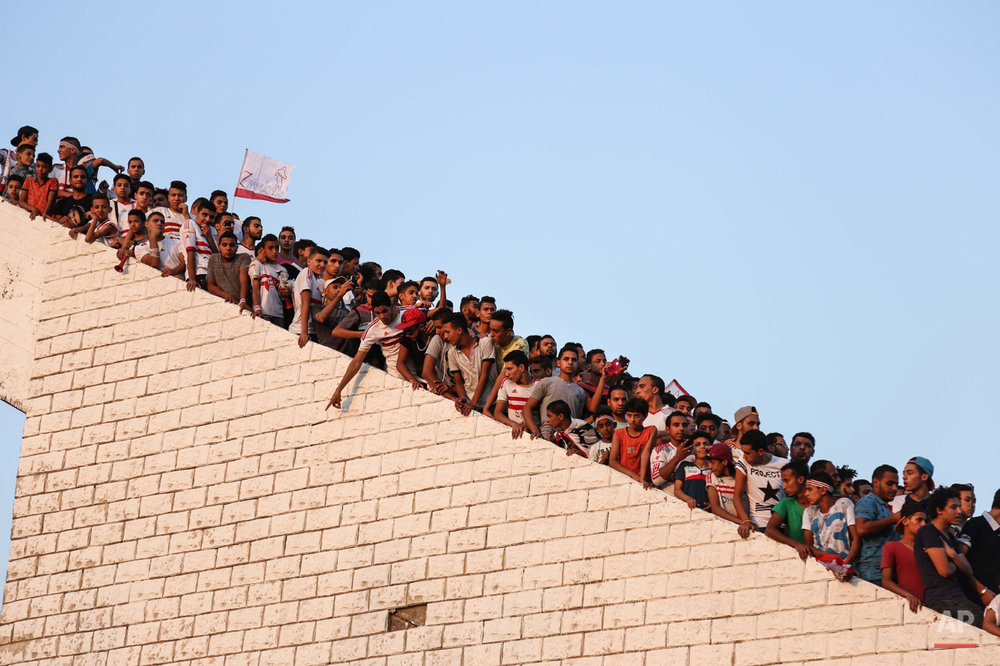 In this July 31, 2015 photo, Zamalek soccer fans celebrate after winning the Egyptian League at the Zamalek Sports Club in Cairo, Egypt. The hardcore fan base Ultras White Knights did not celebrate the winning of the team out of respect for more than 20 soccer fans who were crushed to death outside the Air Defense Stadium in Cairo after police fired tear gas to break up the crowd waiting in a fenced, narrow corridor to watch. Police accused the fans of attacking the force, and rioting to enter the stadium on Feb. 8, 2015. (AP Photo/Mohammed El Raai)