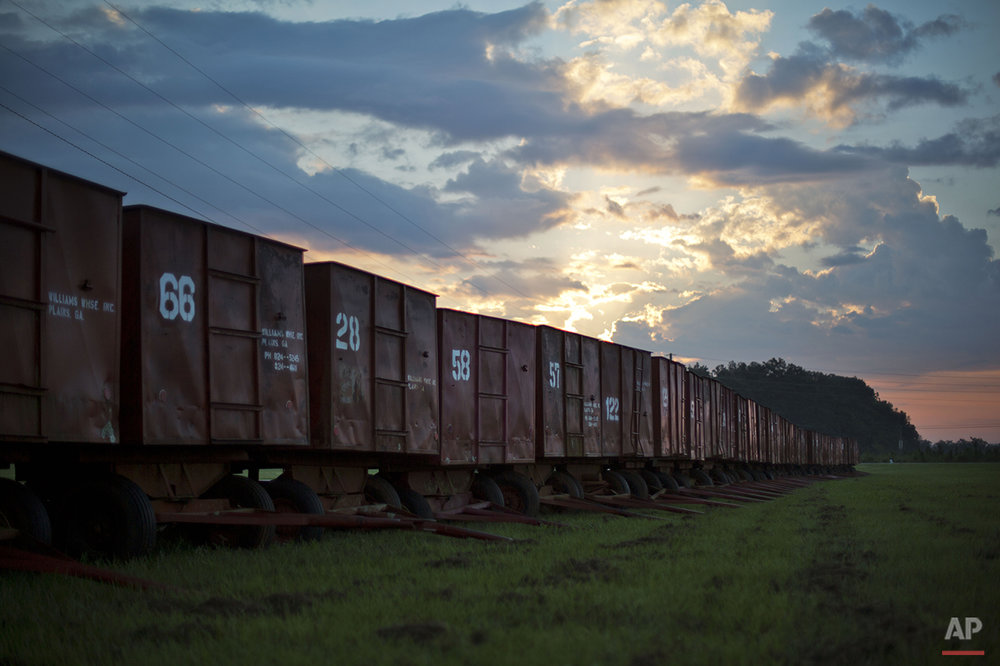 The sun rises as peanut wagons sit on a farm in the hometown of former President Jimmy Carter in Plains, Ga., Sunday, Aug. 23, 2015. Main Street stores are stocked with memorabilia of the former peanut farmer and Georgia governor. Nearby sites include a gas station once run by Carter's brother Billy and the farm where Carter grew up helping in the fields and family store. (AP Photo/David Goldman)