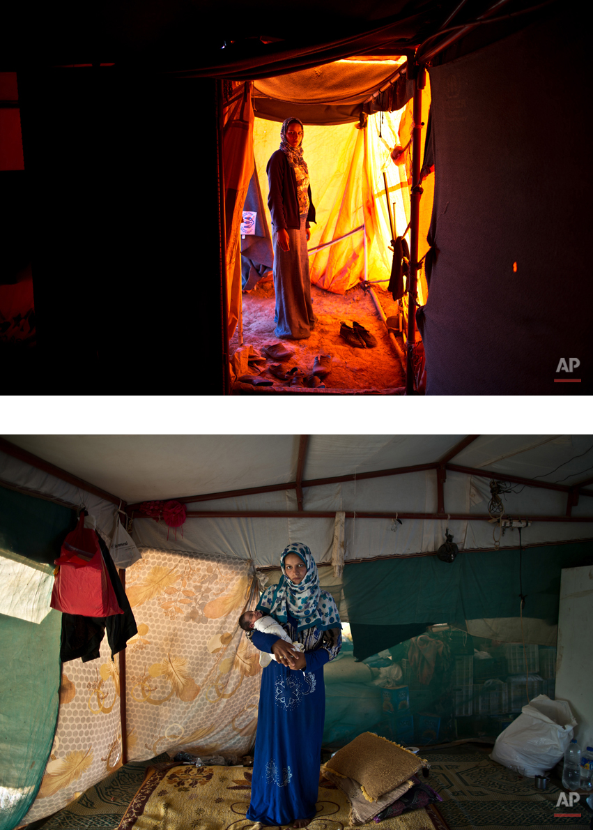 This combination of two images taken between Monday, March 16, 2015, top, and Sunday, Aug. 16, 2015, shows Syrian refugee Feedah Ali, 18, posing for a picture while being pregnant, and after giving birth to her child, at an informal tented settlement near the Syrian border, on the outskirts of Mafraq, Jordan. ìWe left Syria two years ago with nothing and today we have nothing, I wish someone could turn to us, help us, take us out of our misery,î Ali says. (AP Photo/Muhammed Muheisen)