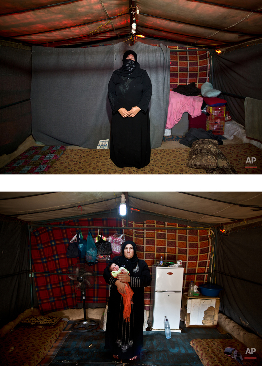 This combination of two images taken between Monday, March 16, 2015, top, and Wednesday, Aug. 19, 2015, shows Syrian refugee Huda Alhumaidi, 30, posing for a picture while being pregnant, and after giving birth to her child, at an informal tented settlement near the Syrian border, on the outskirts of Mafraq, Jordan. ìIím speechless, I have no words left,î Alhumaidi says. ìWe are done complaining and begging for help. We are abandoned here. I just want to go back to my country. Even if we have to start from zero there as we lost our home, at least we will be able to live with dignity.î (AP Photo/Muhammed Muheisen)