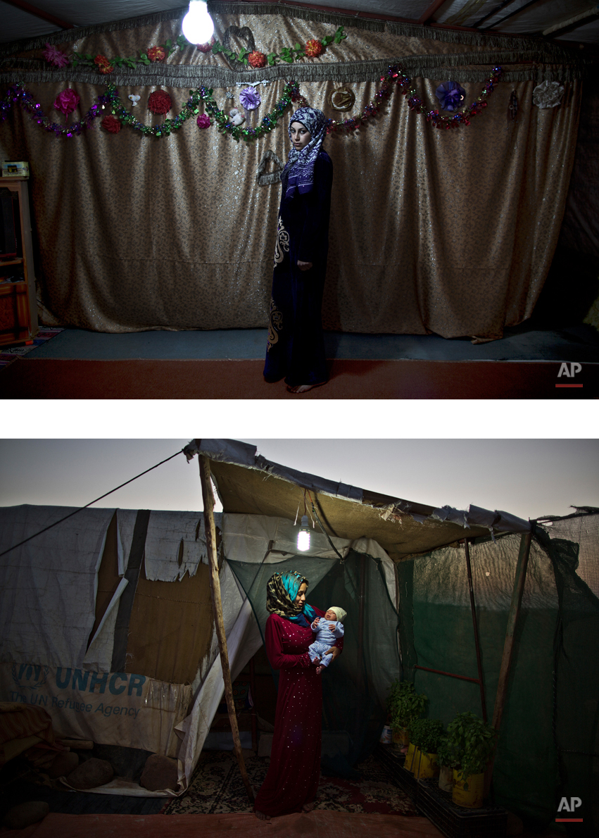 This combination of two images taken between Tuesday, March 17, 2015, top, and Saturday, Aug. 1, 2015, shows Syrian refugee Huda Alsayil, 20, posing for a picture while being pregnant, and after giving birth to her child, at an informal tented settlement near the Syrian border, on the outskirts of Mafraq, Jordan. After delivering Mezwid, her first son, despite fears of medical complications, Alsayil says she now feels ìcompleteî for the first time in months. Holding him feels like the best gift I could be granted,î she says. (AP Photo/Muhammed Muheisen)