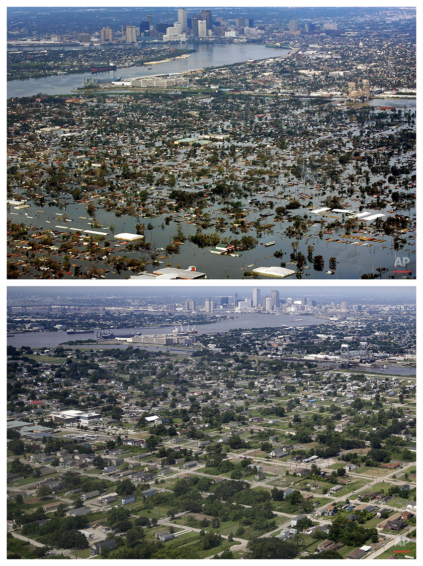 This combination of Aug. 30, 2005 and July 29, 2015 aerial photos shows the Lower Ninth Ward of New Orleans flooded by Hurricane Katrina and the same area a decade later. Before Katrina, the Lower Ninth Ward was a working-class and predominantly African-American neighborhood just outside the city's historic center. (AP Photo/David J. Phillip, Gerald Herbert)