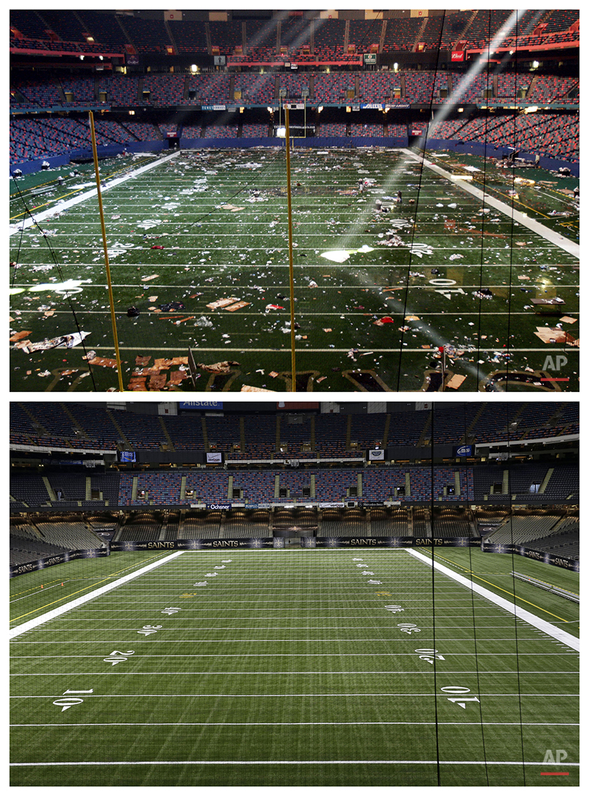 This combination of Sept. 2, 2005 and Aug. 14, 2015 photos shows the playing field of the Louisiana Superdome in New Orleans littered with debris after serving as a shelter for victims from Hurricane Katrina, and a decade later, the renamed Mercedes-Benz Superdome. (AP Photo/Bill Haber, Gerald Herbert)