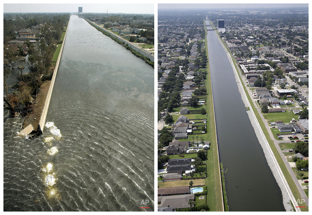 This combination of Sept. 3, 2005 and July 29, 2015 aerial photos show the 17th Street Canal flood wall breach and the Lakeview section of New Orleans flooded by Hurricane Katrina and the same area a decade later. Katrina's powerful winds and driving rain bore down on Louisiana on Aug. 29, 2005. The storm caused major damage to the Gulf Coast from Texas to central Florida while powering a storm surge that breached the system of levees that were built to protect New Orleans from flooding. (AP Photo/Haraz N. Ghanbari, Gerald Herbert)