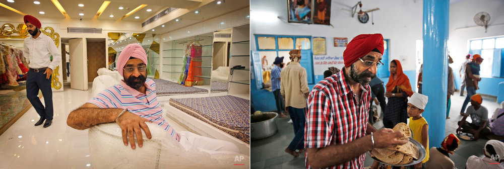This two picture combo shows on left, Amarjeet Singh, 57, a big businessman, who owns shops and a mall sits at his shop, in New Delhi, India, on June 16, 2015, as on right he distributes Indian bread to devotees during a langar at the Majnu-Ka-Tilla Gurudawara or Sikh temple, in New Delhi, India, on June 14, 2015. The langar, which translates to community meal, started by Guru Nanak, founder of Sikhism in late 15th century, a place where people from different cast and creed come under one roof to eat and serve. It is now a tradition followed by more than 30 million Sikhs worldwide. Nearly every Gurdwara in the world, irrespective of size, has a kitchen and serves lanagar. (AP Photo/Manish Swarup)