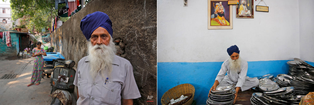 This two picture combo shows on left, Jaspal Singh, 74, poses for photos outside his house in New Delhi, India, on June 15, 2015, as on right, he arranges empty plates for langar, or free community meal, at Majnu-ka-Tilla Gurudwara or Sikh temple, in New Delhi, India, on June 14, 2015. Service is one of the most integral traditions of gurudwaras. From cleaning to preparing tons of food every day there is plenty of work to be done. And there are plenty of sevadaars, or volunteers, to do it. While the gurudwara employs a small group of men to help manage the kitchen, it depends on visiting worshippers to contribute nearly half of all work and food supplies. (AP Photo/Manish Swarup)