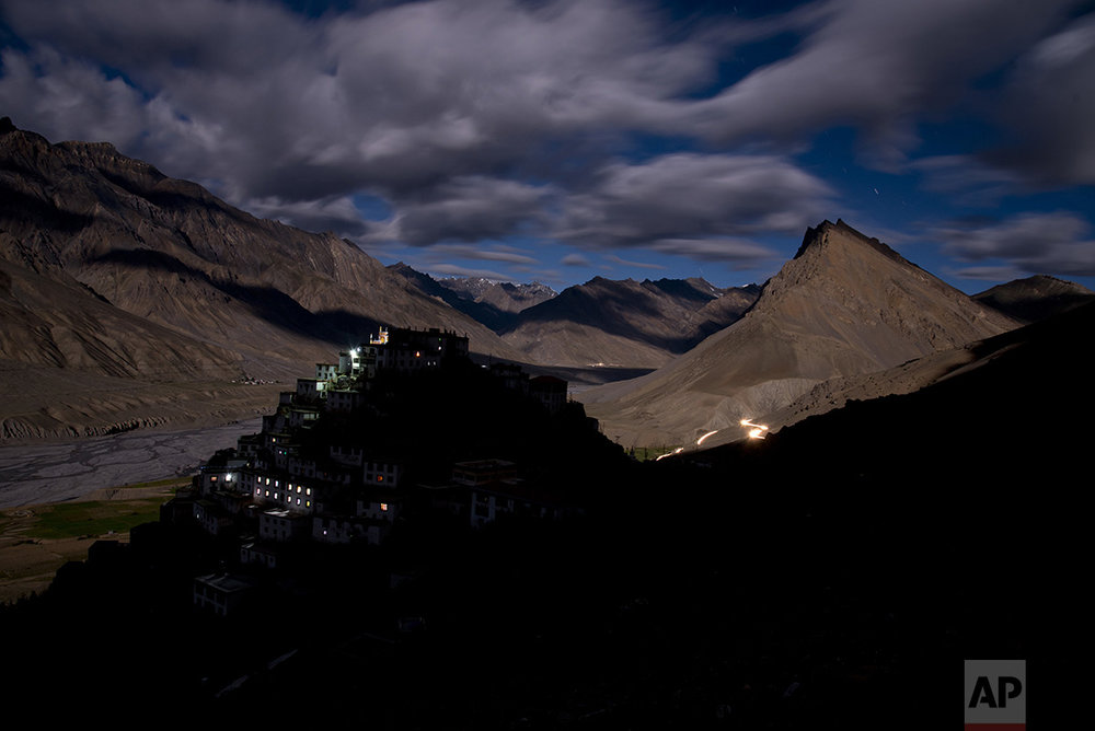 In this Aug. 18, 2016, photo, the Key monastery is seen from a neighboring hilltop. Key is one of the most important Buddhist monasteries in the Spiti Valley, and home of more than 350 monks. (AP Photo/Thomas Cytrynowicz)