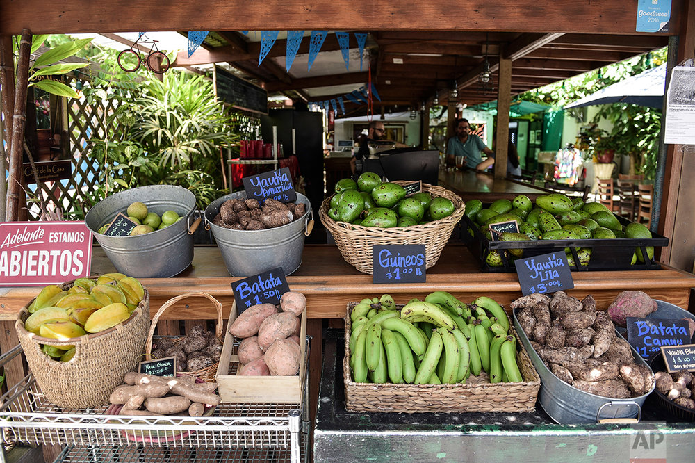 This Sept. 23, 2016 photo shows a produce stand inside El Departamento de la Comida farmers market and organic restaurant that sells locally grown produce in San Juan, Puerto Rico. (AP Photo/Carlos Giusti)