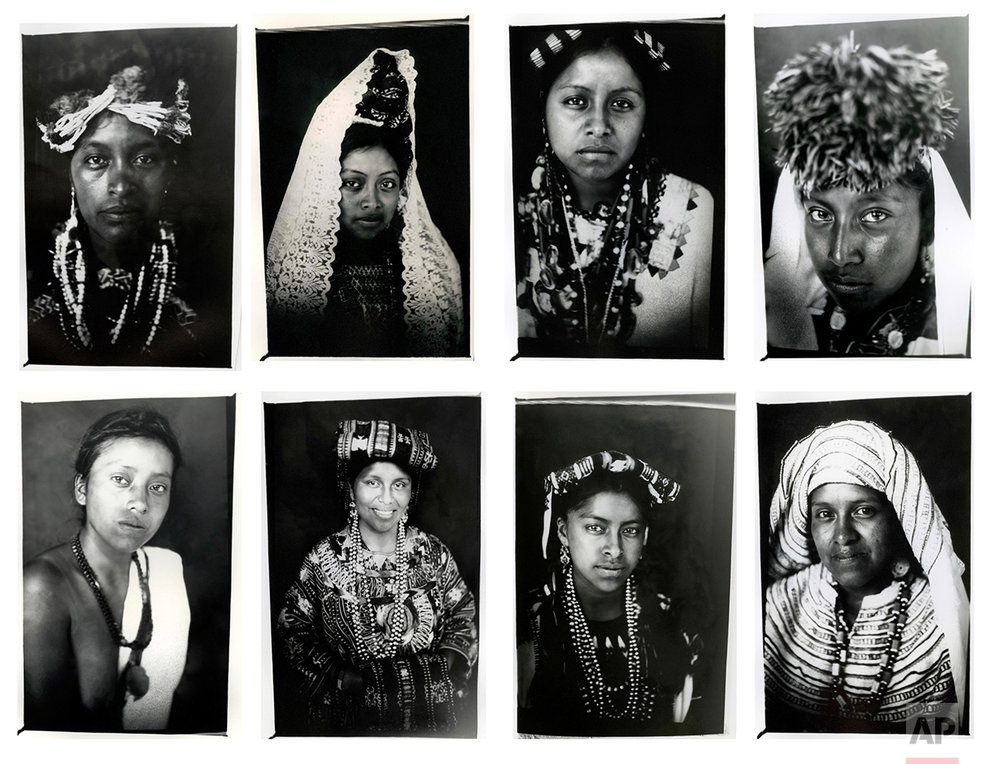In this combo of eight photos taken July 29, 2011, Mayan Queens representing Guatemalan states pose for portraits taken with a 19th century style box camera during the Rabin Ajau National Folkloric Festival in Coban, Guatemala. (AP Photo/Rodrigo Abd)