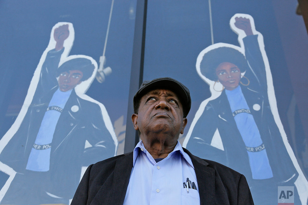In this photo Friday, Sept. 30, 2016 photo, Bobby Seale, who co-founded the Black Panther Party, stands outside the Eastside Arts Alliance and Cultural Center in Oakland, Calif.  Hundreds of former Black Panthers from around the world are expected to gather in Oakland, Calif., for a four-day conference that started Thursday, Oct. 20, 2016. (AP Photo/Eric Risberg)