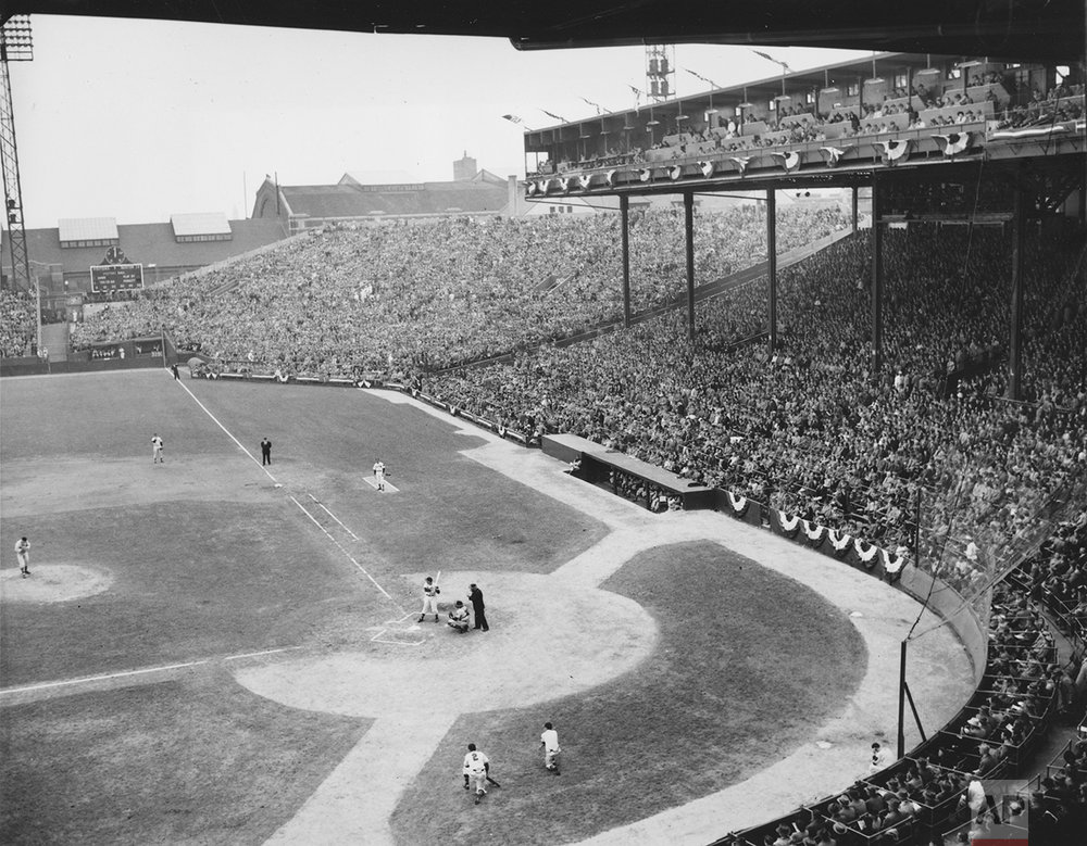 The Boston Braves meet the Cleveland Indians in the first game of the World Series before 40,135 spectators at Braves Field in Boston, Ma., Oct. 6, 1948. Boston won, 1-0. (AP Photo)