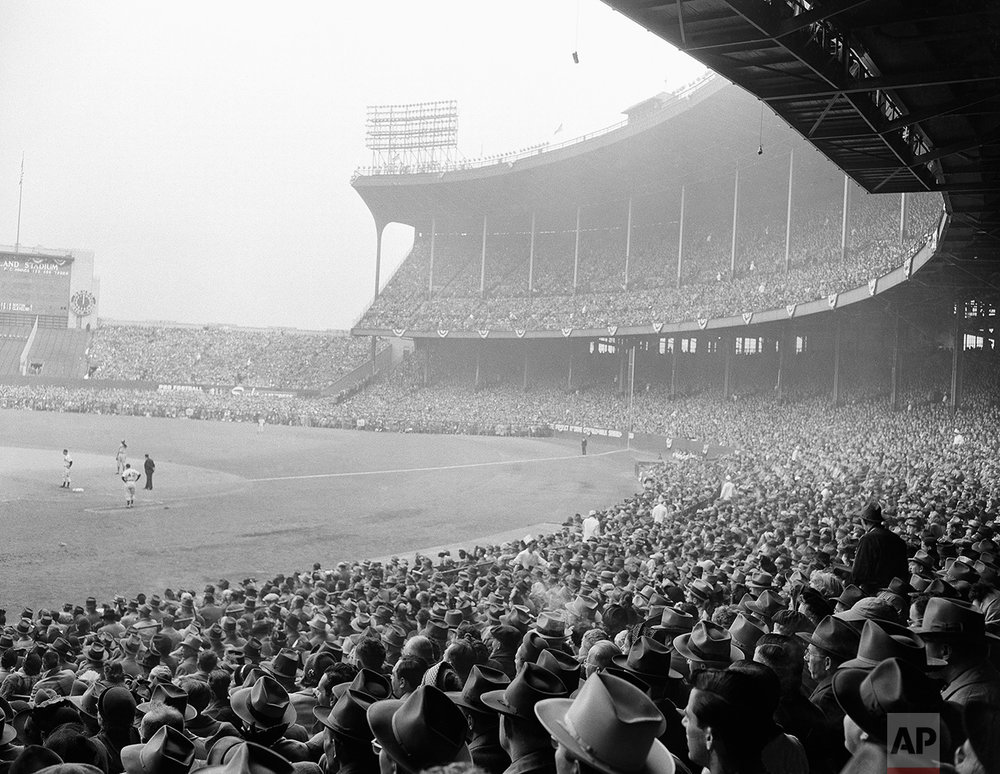 View section of the grandstand at Municipal Stadium in Cleveland on Oct. 9, 1948, for the fourth game of the World Series. The crowd was announced as 81, 897 a new record for the series. (AP Photo)