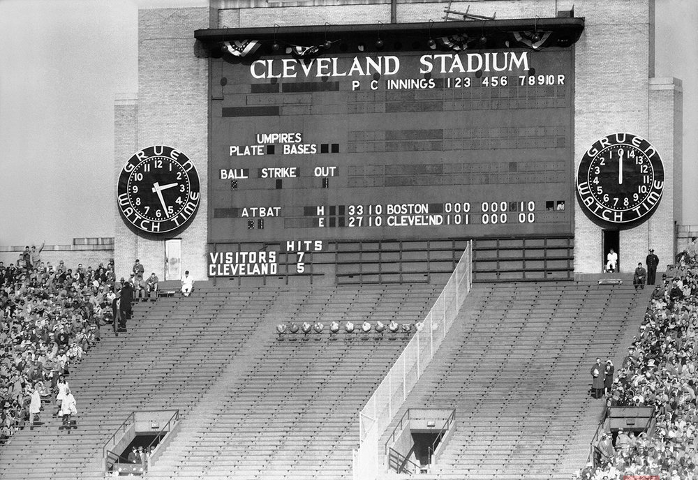 This is a general view of scoreboard during the World Series, Oct. 11, 1948 in Cleveland. (AP Photo)