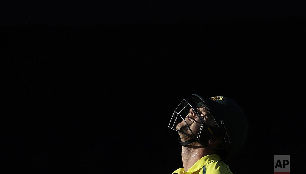 Australia's batsman Travis Head reacts as he leaves the field after being dismissed South Africa's bowler Kagiso Rabada for 51 runs during the second one-day international cricket match between South Africa and Australia, at Wanderers stadium in Johannesburg, South Africa, Sunday, Oct. 2, 2016. (AP Photo/Themba Hadebe)