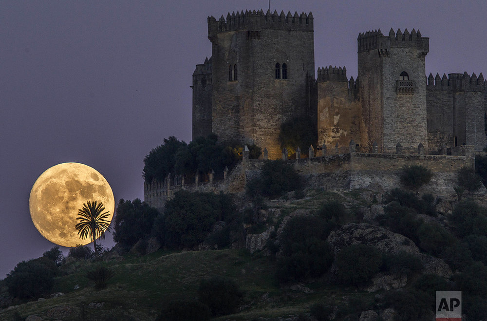 The moon rises behind the castle of Almodovar in Cordoba, southern Spain, on Sunday, Nov. 13, 2016. The Supermoon on Nov. 14, 2016, will be the closest a full moon has been to Earth since Jan. 26, 1948. (AP Photo/Miguel Morenatti)