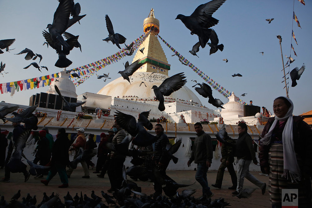 Pigeons fly around Boudhanath Stupa that was opened to the public Tuesday after restoration in Kathmandu, Nepal, Tuesday, Nov. 22, 2016. A year and a half after a colossal earthquake destroyed hundreds of its treasured historic sites, Nepal celebrated the restoration of the iconic Buddhist monument topped in gold that towers above Kathmandu. (AP Photo/Niranjan Shrestha)