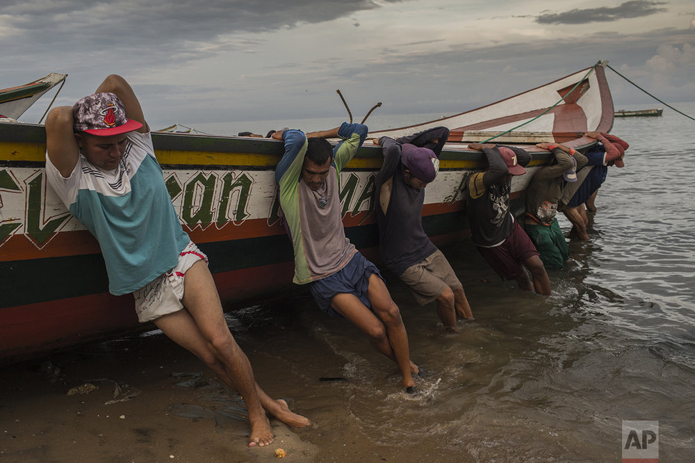 In this Nov. 2, 2016 photo, fishermen from the Marval family bring their boat to shore after fishing all night, in Punta de Araya, Sucre state, Venezuela. Gangs of out-of-work fishermen prey upon those like the Marval clan who still venture out into the open sea, stealing their catch and their motors, tying them up, throwing them overboard, and sometimes shooting them. (AP Photo/Rodrigo Abd)