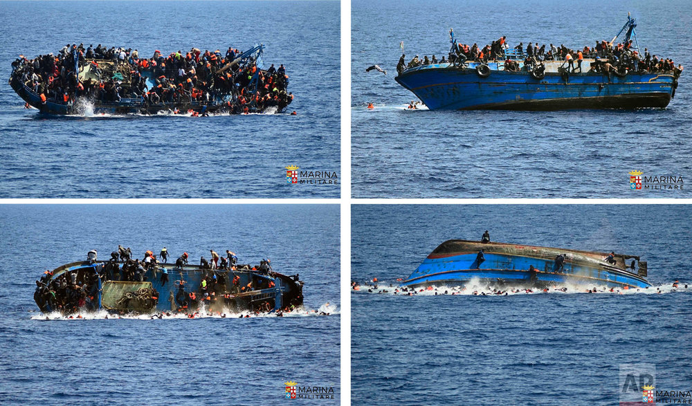 In this four-picture combo, a boat overturns as people try to jump in the water off the Libyan coast on May 25, 2016. The Italian navy says it recovered a few bodies from the overturned migrant ship, while some 500 migrants who were on board were rescued safely. (Italian navy via AP)