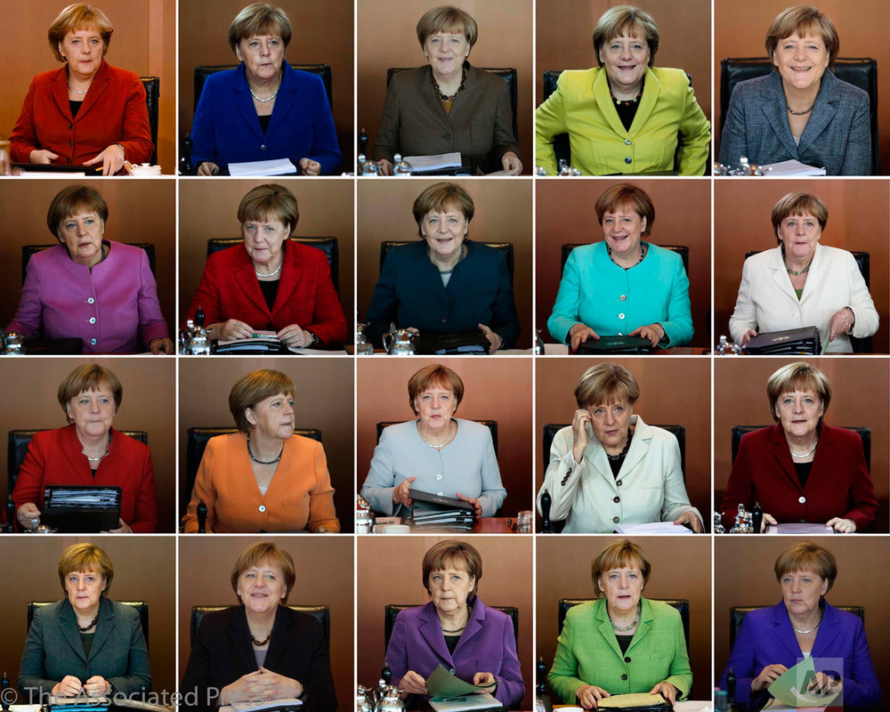 In this combo photo, German Chancellor Angela Merkel leads the weekly cabinet meeting of her government at the chancellery in Berlin. Merkel is since 2005 at the helm of the German government and wants to add a fourth four-year term. (AP Photos/Markus Schreiber)