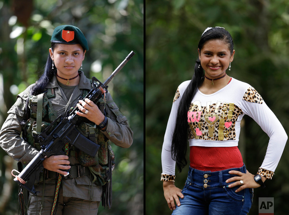 This Aug. 13, 2016 photo shows two portraits of Yiceth, one of her holding a weapon while in uniform for the Revolutionary Armed Forces of Colombia (FARC), and in civilian clothing at a guerrilla camp in the southern jungle of Putumayo, Colombia. Yiceth, 18, said she's spent four years with the FARC and wants to finish high school and go on to study nursing after demobilizing as part of a peace deal with Colombia's government. (AP Photo/Fernando Vergara)