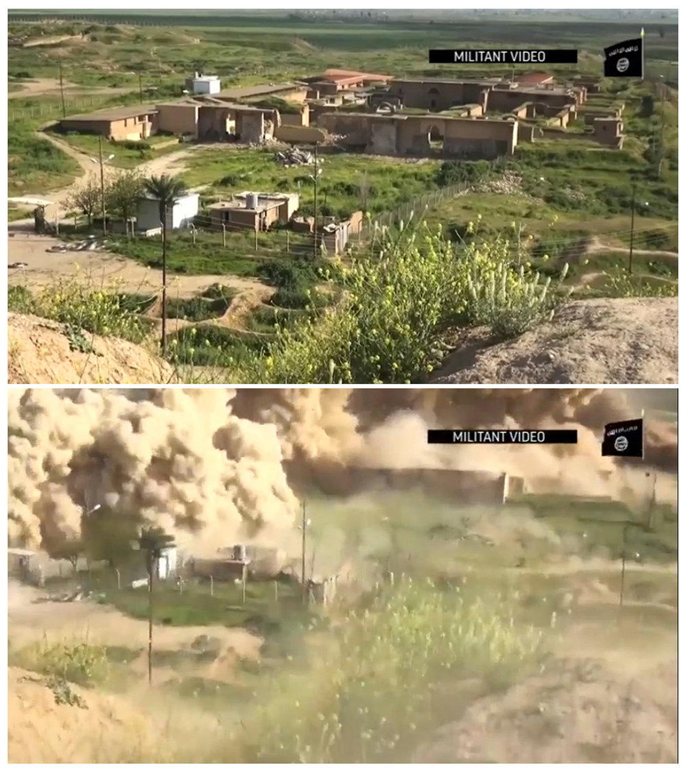 This image made from video posted online by Islamic State militants in April, 2015 shows the ancient site of Nimrud near Mosul, Iraq before and after militants exploded the site. One of the Mideast's most important archaeological sites, the nearly 3,000-year-old remains of an Assyrian capital had been a trove of ancient Mesopotamian art and, with hundreds of clay tablets, provided archaeologists a wealth of information on the era. (Militant video via AP)
