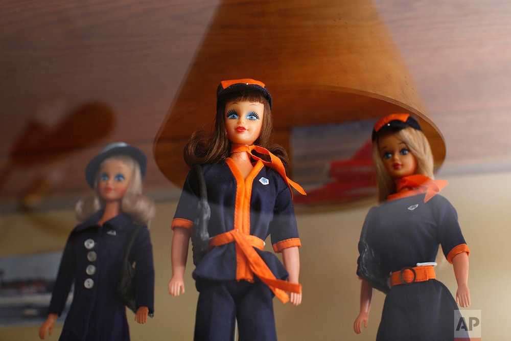 In this Jan. 6, 2017 photo, 1977 Barbara Lili dolls, the Mexican version of the Barbie doll, wearing AeroMexico flight attendant uniforms are displayed prior to the opening of a large Barbie doll exhibit at the Mexico Antique Toy Museum in Mexico City. Among the millions of items displayed in this museum, all sorts of Mexican wrestling paraphernalia and old traditional Mexican toys remind Mexicans of their rich cultural heritage as well as a blunt reminder that before the North American Free trade agreement was signed in the 1990's, Mexico had a robust, healthy and creative national toy industry that is now practically defunct. (AP Photo/Dario Lopez-Mills)