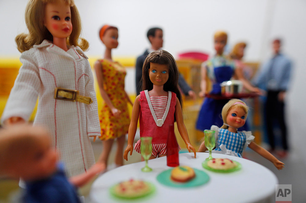 In this Jan. 6, 2017 photo, assorted Barbie dolls are displayed during a huge Barbie Doll temporary exhibit at the Mexico Antique Toy Museum in Mexico City. Several Barbie doll collectors teamed up to display their dolls in this museum. (AP Photo/Dario Lopez-Mills)