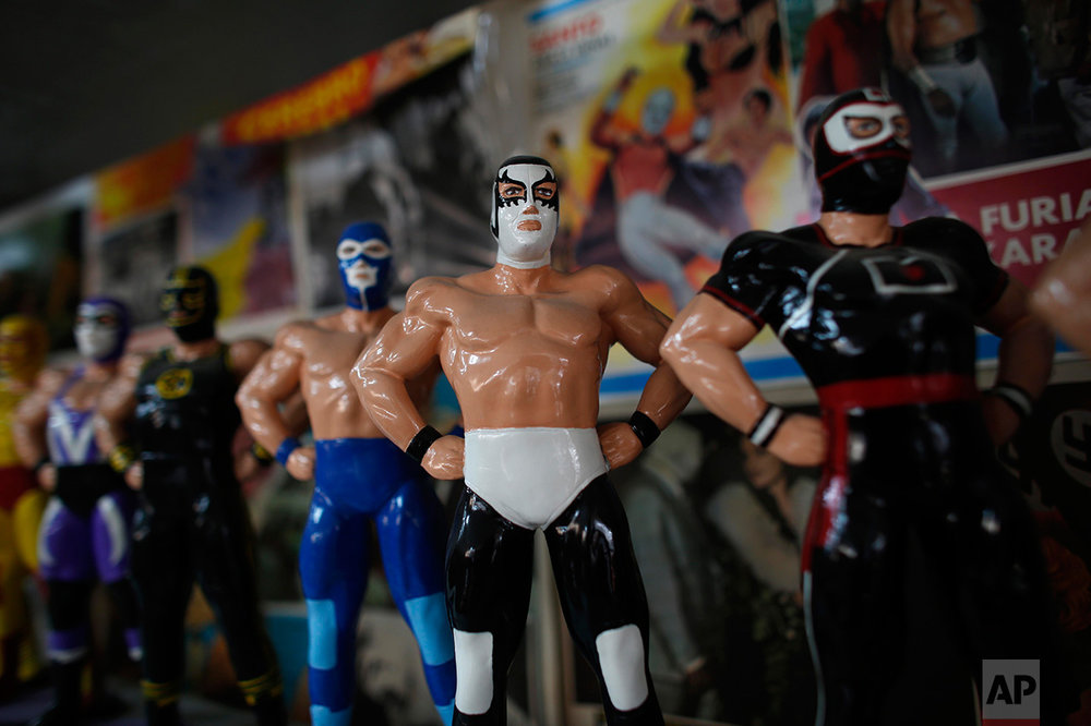 "In this Jan. 11, 2017 photo, Mexican ""lucha libre"" wrestling dolls are displayed in the Lucha Libre room of the Mexico Antique Toy Museum in Mexico City. The museum is struggling, following a congressional decision to stop allocating cultural funds for the collection. The museum has had to cut staff by half and most of its cultural events and workshops have been suspended, but it hopes to raise money through a Kickstarter campaign. (AP Photo/Dario Lopez-Mills)"
