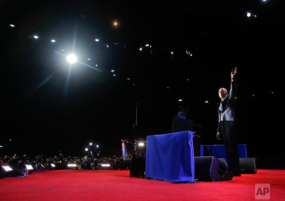 President Barack Obama waves as he take the stage to speak during his farewell address at McCormick Place in Chicago, Tuesday, Jan. 10, 2017. (AP Photo/Pablo Martinez Monsivais)