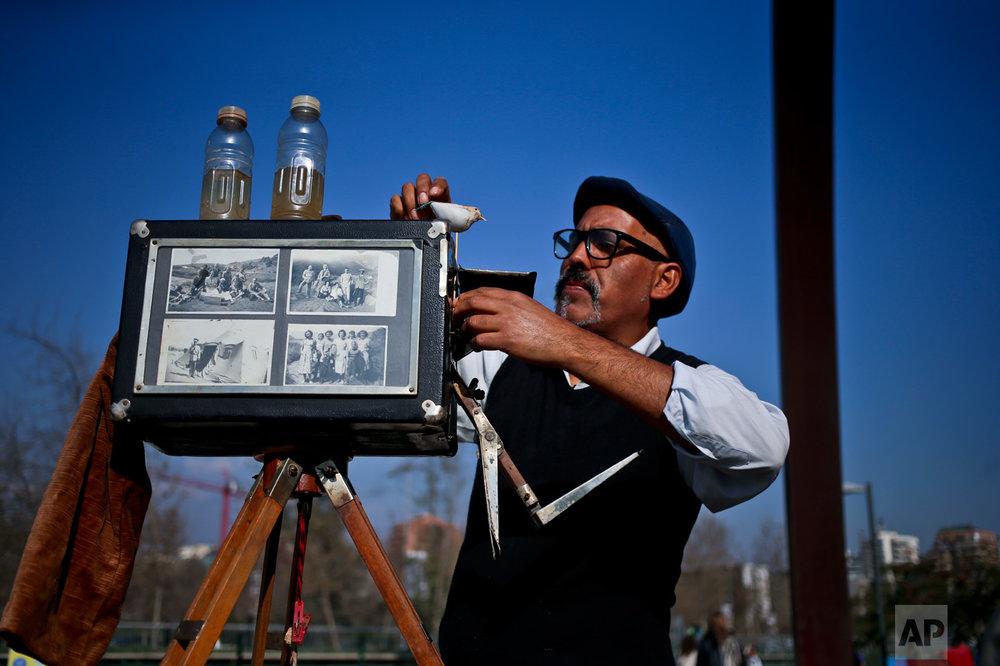 In this Sept. 2, 2016 photo, photographer Luis Maldonado prepares his old wooden box camera at a fair in Santiago, Chile. Maldonado is the last remaining photographer in the main square of the Chilean capital still using a wooden box camera. (AP Photo/Esteban Felix)